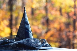 Halloween theme with witches hat on a fall forest background