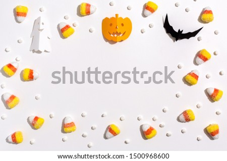 Halloween themed background border on a white background