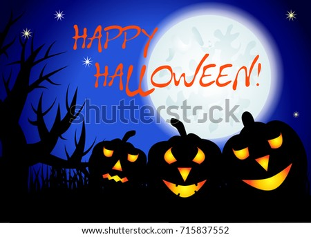 Halloween. Three night landscape, a full moon in the sky, stars, tree silhouettes, grasses