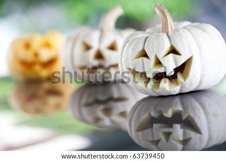 halloween three pumpkins background - stock photo