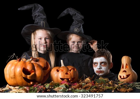 Halloween. Two little witches, skull surrounded by pumpkins,  foliage and spiders on a black background. Teens fun