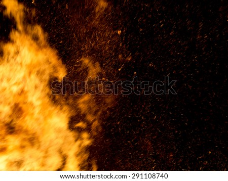 Halloween type background. Real raging bonfire with sparks at night.