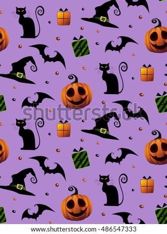 Halloween violet pattern. Cartoon Holiday pattern. Tiled texture. Bats, cats, pumpkin.