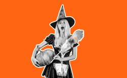 Halloween wide banner. Scary face Housekeeper. Advertisement Halloween concept with isolated stickers. Housewife Witch with Pumpkin. Halloween dresses on the witch