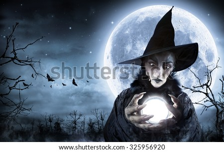 Halloween Witch Clairvoyant In A Spooky Night - Moon maps element furnished by Nasa