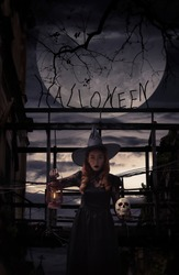 Halloween witch holding ancient lamp and skull standing over damaged old wooden bridge, bird, dead tree, full moon with spooky cloudy sky, Halloween mystery concept