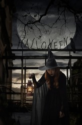 Halloween witch holding ancient lamp standing over damaged old wooden bridge, bird, dead tree, full moon with spooky cloudy sky, Halloween mystery concept