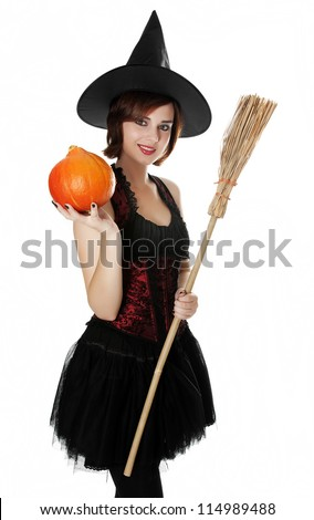 halloween witch on white background