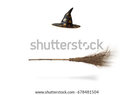 Halloween witch's hat and broom isolated #678481504