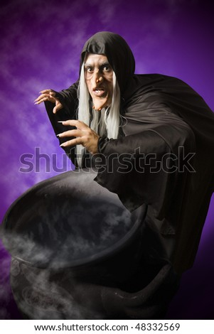 Halloween witch with her cauldron