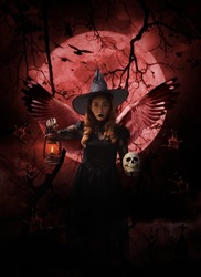 Halloween witch with wings holding ancient lamp and skull standing over zombie hand, cross, church, crow, birds, dead tree, full moon and cloudy spooky sky, Halloween mystery concept