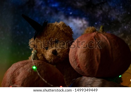 Halloween with pumpkins and a teddy bear. The garland glows in different colors, a festive mood. #1499349449