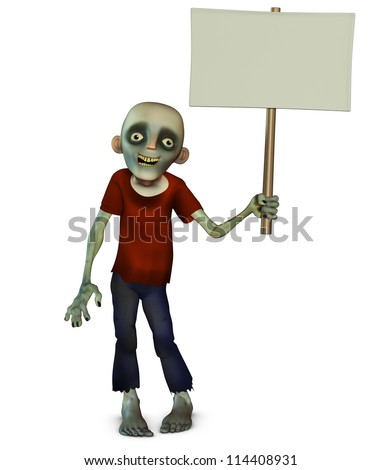 Halloween zombie holding placard