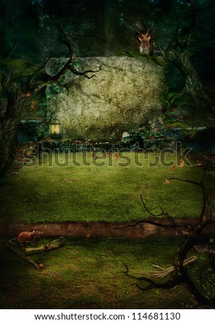 Hallowen design background. Ancient Tomb at graveyard in forest with copyspace. Grave with bones, spooky trees and owl.