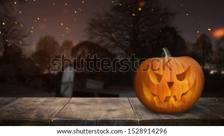 Hallowen Pumpkin Table Product Placement, blurry background Stock photo ©