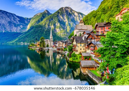 Hallstatt, Austria. Mountain village in the Austrian Alps at sunrise.