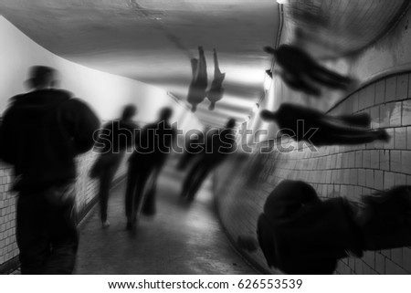 Hallucinations, delirium in EKW tunnel. Stockfoto ©