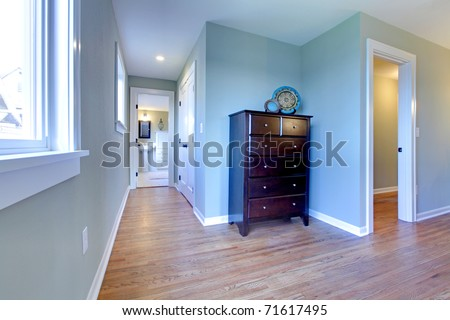 Hallway between bedroom and bathroom. Newly remodeled craftsman house in Tacoma, WA