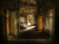 hallway in an abandoned complex, hdr processing