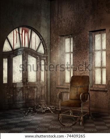 Hallway in an old asylum with bones