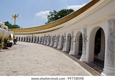 hallway in side Phrapathom pagoda temple Thailand