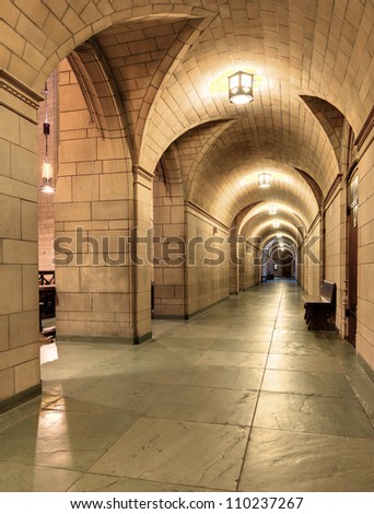 Hallway in the Cathedral of Learning at the University of Pittsburgh in Pennsylvania, USA.