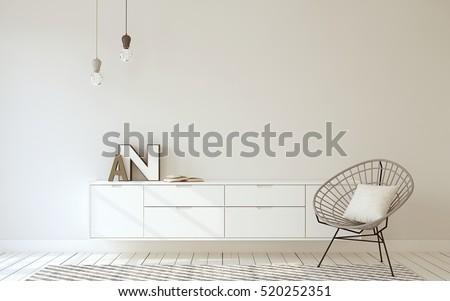 Shutterstock Hallway interior in scandinavian style. 3d render.