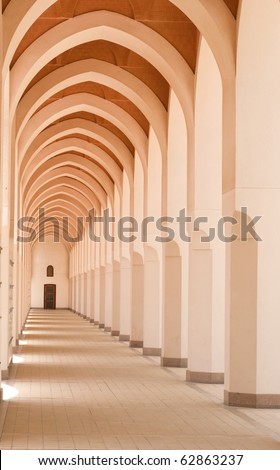 Hallway of a mosque in Bir Ali, Medina, Saudi Arabia. - stock photo