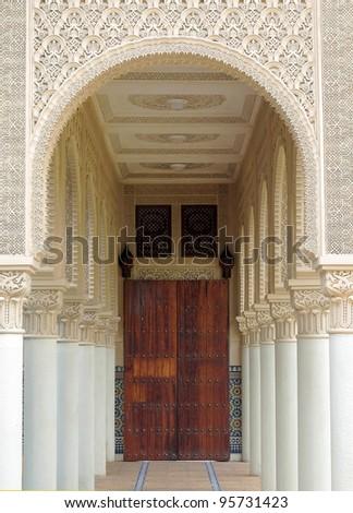 Hallway of Moroccan architecture building at Putrajaya, Malaysia