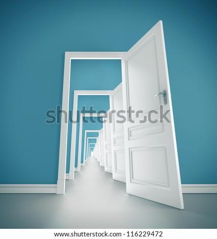 hallway open door in blue room