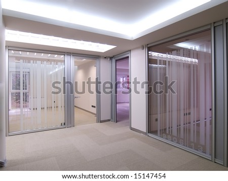 hallway with a view to empty offices