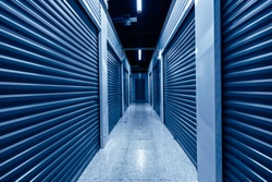 Hallway with blue storage units. Blue phantom colors