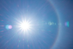 Halo around the sun as viewed in the sky.