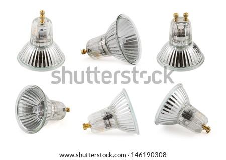 Halogen lamp isolated over white background, set of six foreshortenings