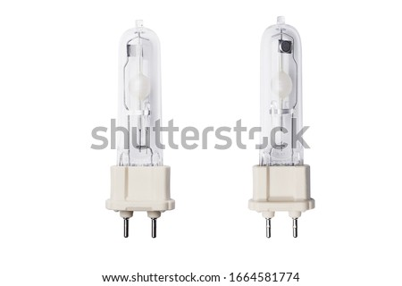 halogen lamp or halogen metal halide lamp is a type of high-intensity discharge isolated on white background .with clipping path