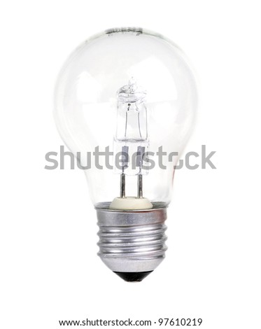 Halogen light bulb on a white background