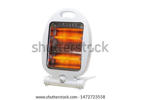halogen light heater on isolated white background