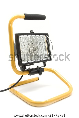 Halogen projector mounted on a stand isolated on white background
