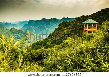 Halong bay mountain viewpoint from Cat Ba Island, Ngu Lam Peak in Vietnam