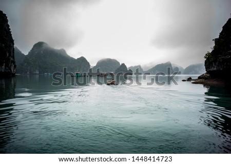Halong Bay North Vietnam Fischer boat in the dust