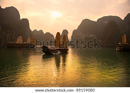 Halong Bay, Vietnam. Unesco World Heritage Site. Most popular place in Vietnam.