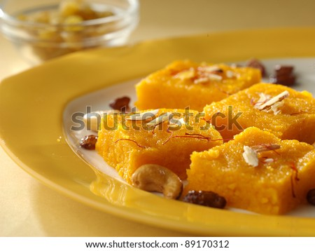 halva sweet ,Indian sweets in  plate