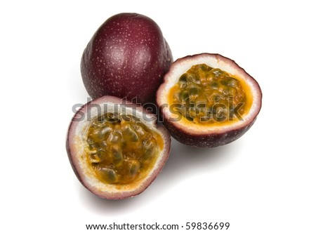 Halved Juicy Organic Passion Fruit