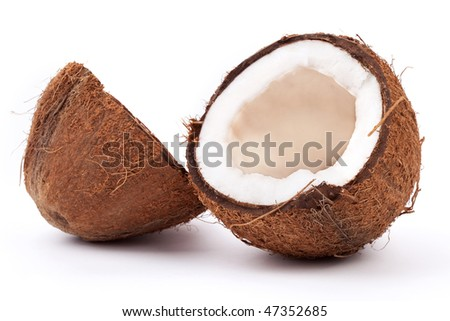 halves of coconut isolated on white