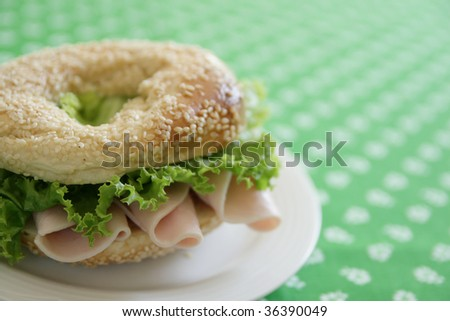 Ham and bagel