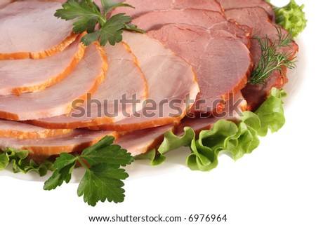 Ham and beef slices on white plate, close-up, isolated on white background