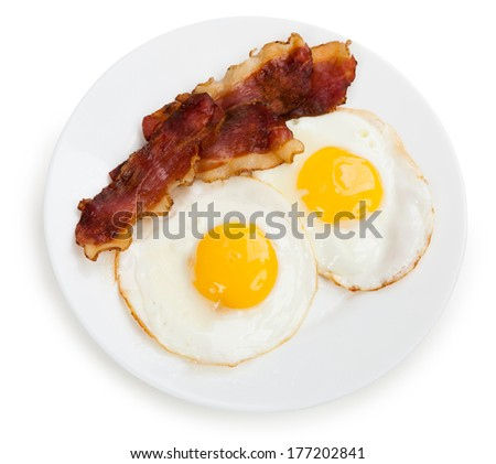ham and eggs on a plate isolated #177202841