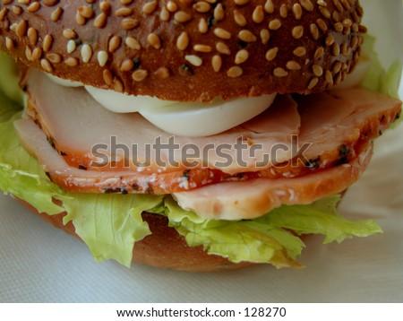 Ham and eggs sandwich