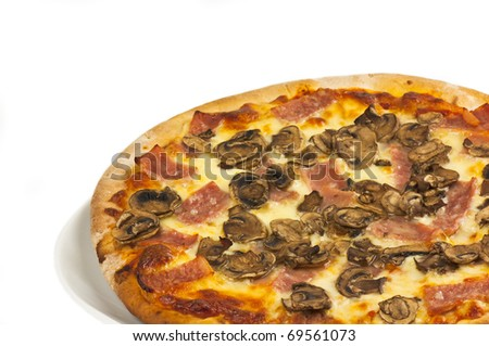 Ham and mushroom pizza on a white background