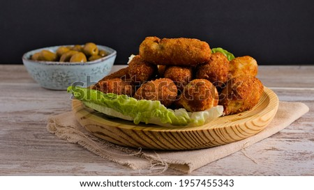 ham croquettes, chicken, cooked, etc. It is one of the most consumed dishes in Spain especially in restaurants ストックフォト ©